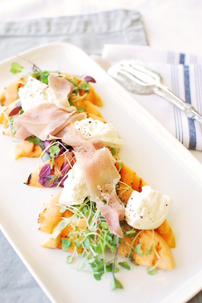 Grilled Cantaloupe and Burrata Salad with Prosciutto