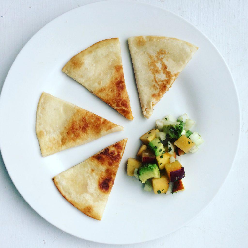 Black Bean and Feta Cheese Quesadillas with a Peach Plum and Avocado Salsa