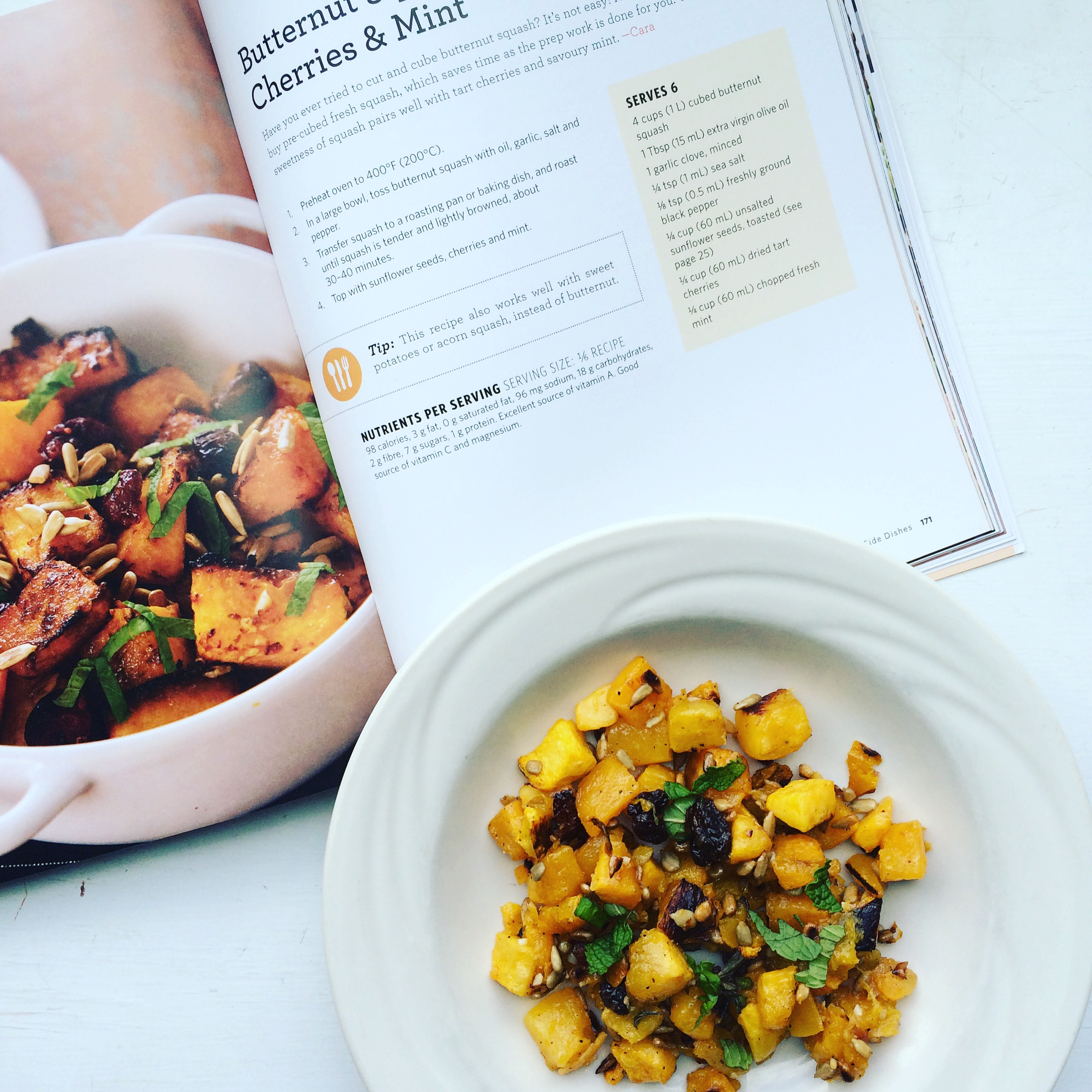 Butternut squash with dried cherries and mint