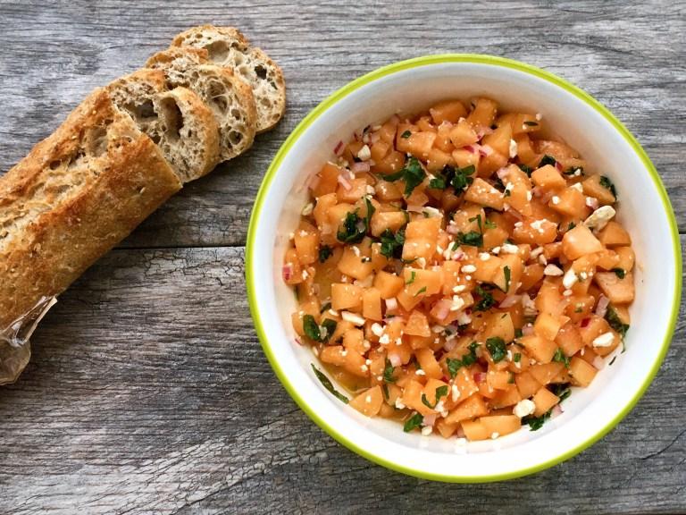 Cantaloupe and Feta Bruschetta