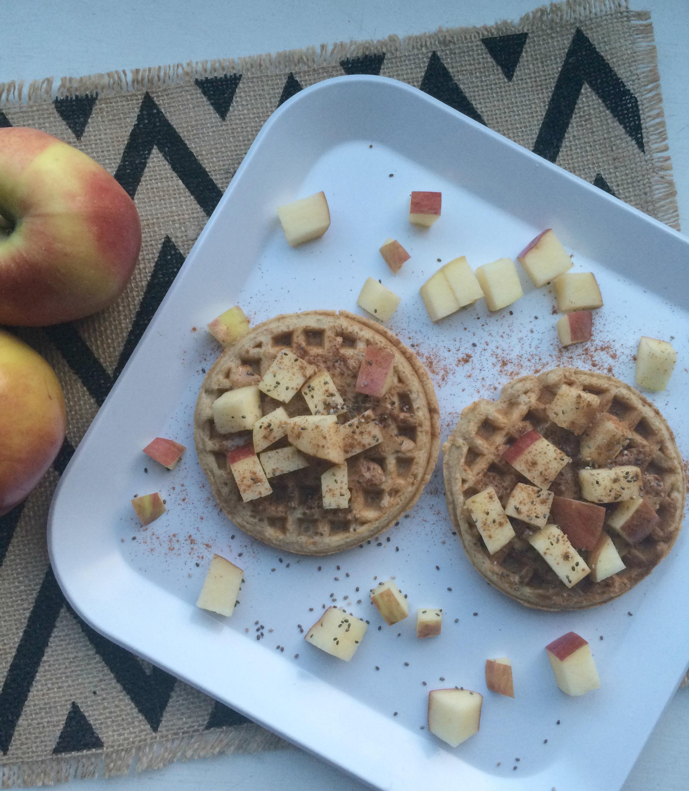 Apple Peanut Butter Waffles
