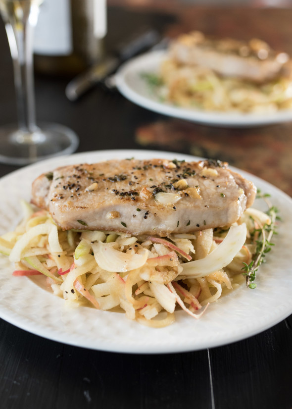 Pork Chops with Apple Fennel and Thyme